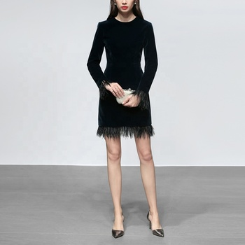 Fashion Women Velvet Feathers Formal Luxury Evening Party Black Cocktail Dress