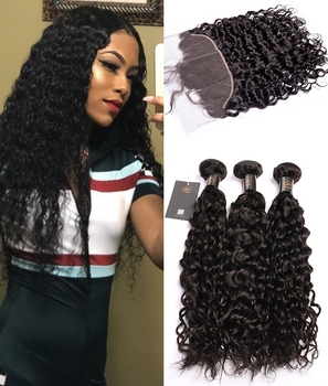 Sunlight Human Virgin Hair 3Bundles Brazilian Water Wave Hair With frontal Human hair bundles with 360 lace frontal closure