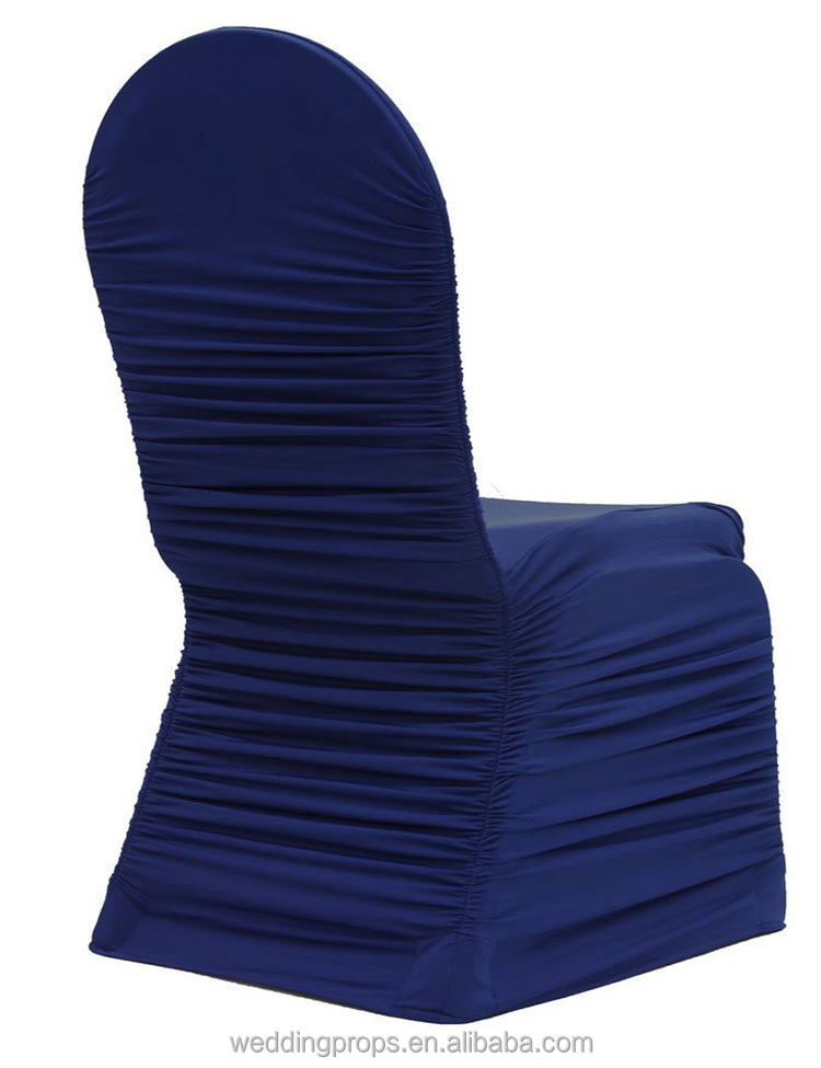 Cheap elastic stretch ruffled swag spandex chair cover with valance for wedding events banquet hall