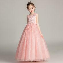 Милое платье с цветами для девочек на свадьбу, бальное платье с О-образным вырезом и аппликацией для детей, кружевные красивые платья для пр...(China)