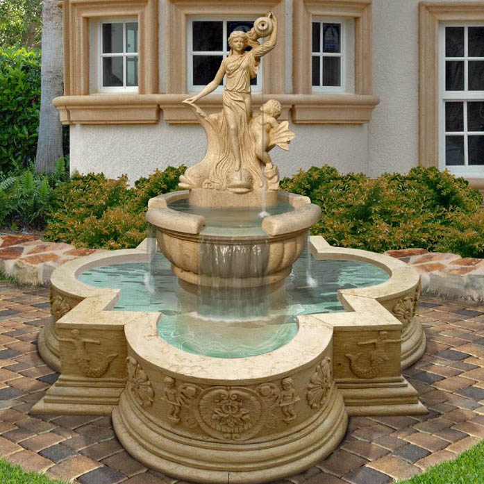 customized small size hand carved beige natural stone marble water fountain for garden square park