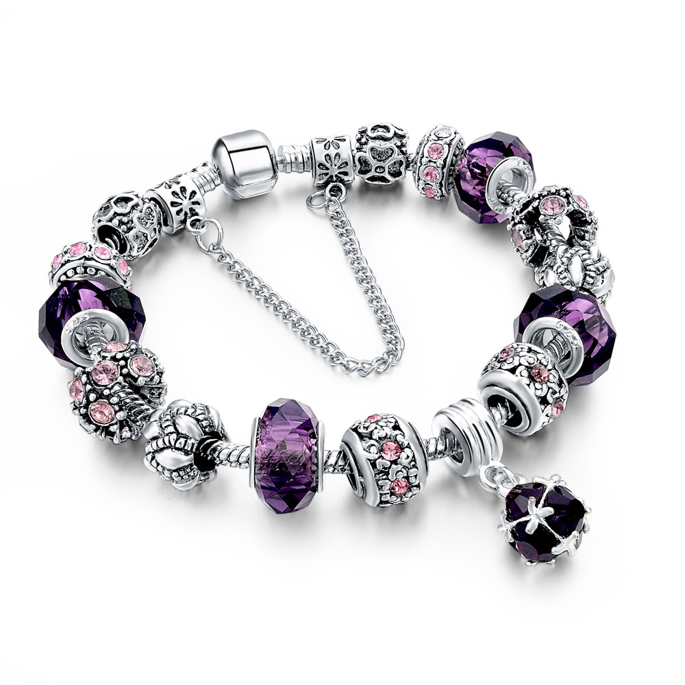 4a958b1e8 925 Sterling Silver DIY Charm Beads Fits Pandora Bracelets For Women With Murano  Crystal Beads Pulsera