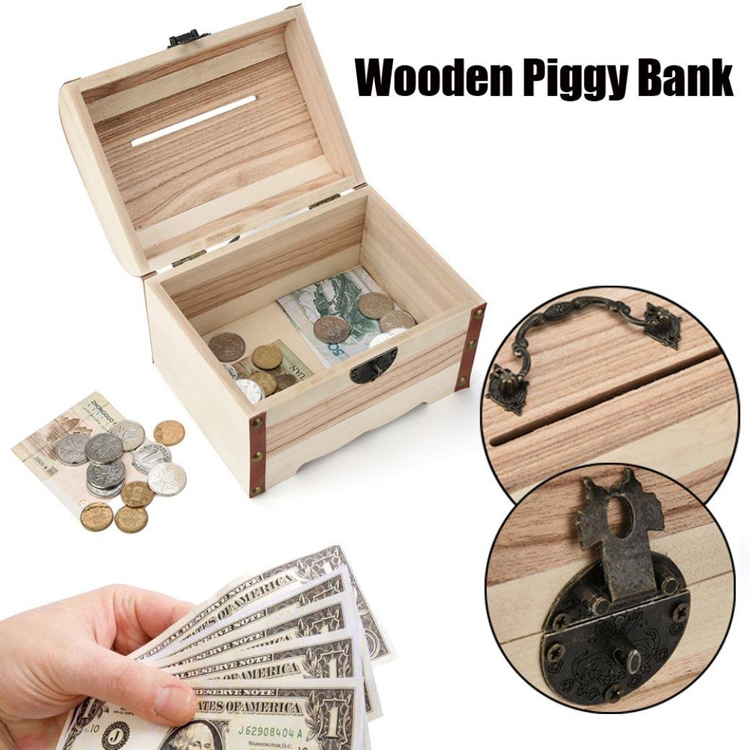 Personality Handmade Wooden Piggy Bank Safe Money Box
