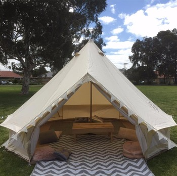 Playdo 4-Season Waterproof Cotton Canvas Large Family Camp Bell Tent Hunting Wall Tent with Roof Stove Jack Hole