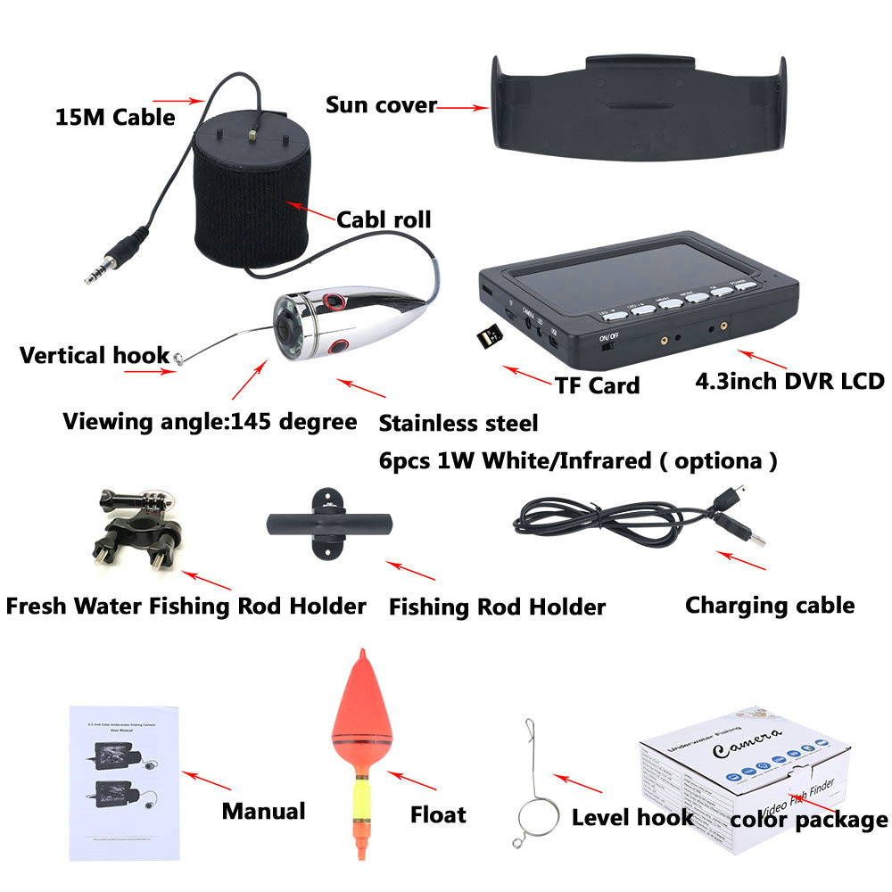 HD underwater surveillance cctv fishing camera fish finder price