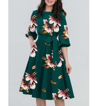 E9053 Floral Print Vintage Dress Women Spring 50s 60s Style Half Sleeve Big Swing Party Dresses Plus Size Casual Vestido