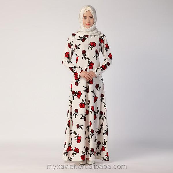 Muslim Dress Fashion Floral Print Abaya in Dubai Islamic Clothing For Women Maxi Dresses