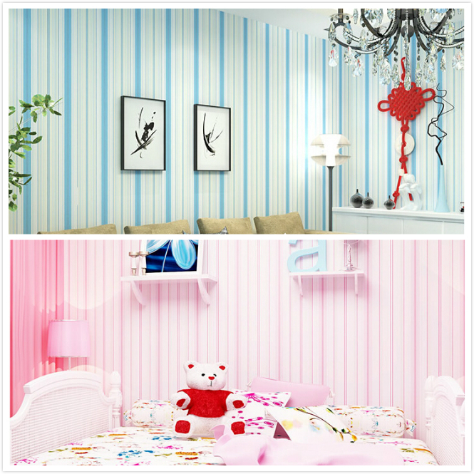 Buy modern blue pink striped wallpaper - Pink and white striped wallpaper bedroom ...