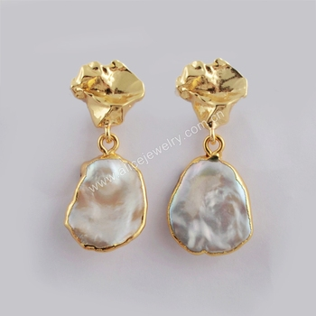G1780 Real Gold plated fresh water pearl earrings Natural freefrom pearl statement earrings for women