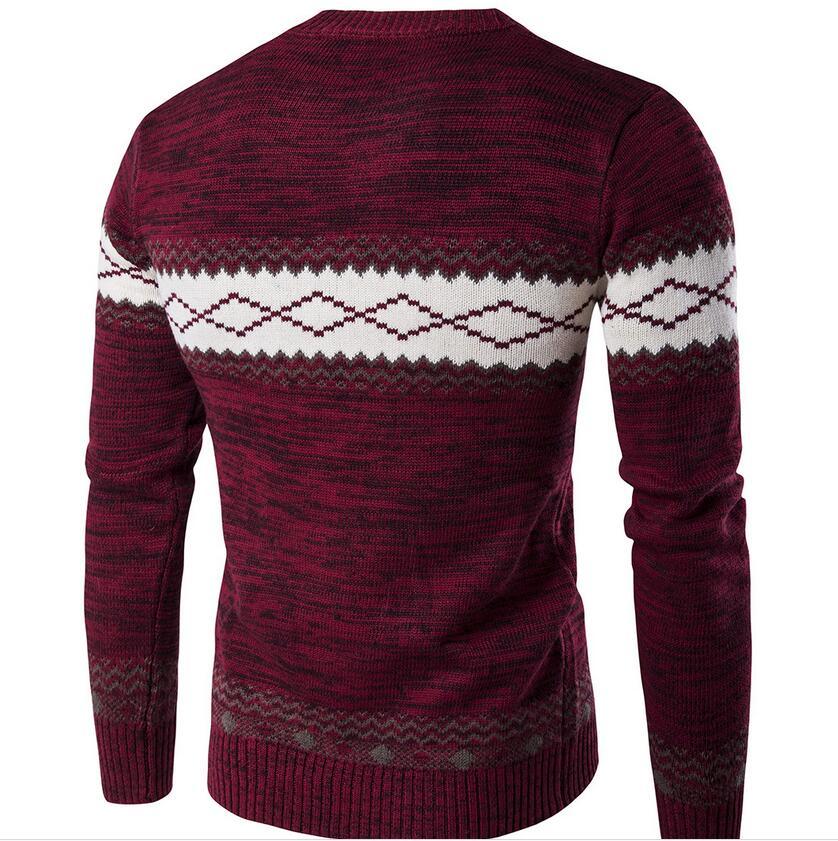 Autumn man designers pullover sweater , men's intarsia long sleeve knit sweater