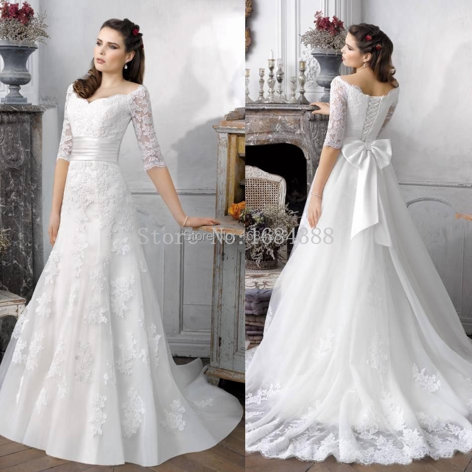Simple Lace Wedding Dress Cheap Informal Bride Dress Half: Hot Sale Simple A Line Half Sleeve Bridal Gowns Sweep