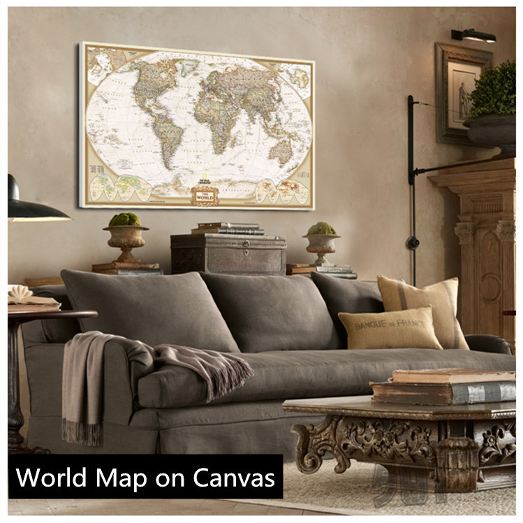 Hot Sale!! Vintage English World Map Painting On Canvas