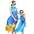 Bohemian Blue Mother Daughter Matching Dresses Family Clothes Girls And Mom Dress Sleeveless Long Style Beach