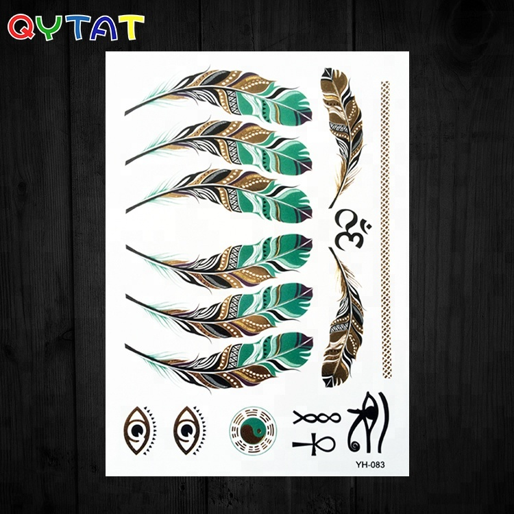 Custom or Wholesale High Quality Non-toxic Waterproof Women Men Body Art Flash Metallic Silver & Gold Temporary Tattoo Sticker