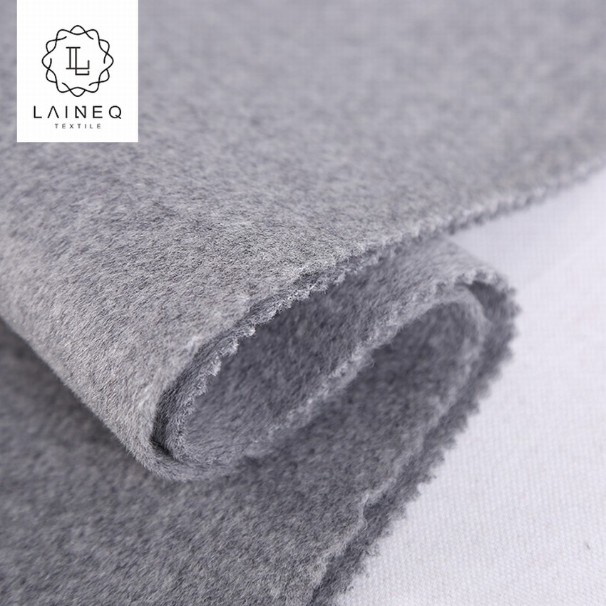 famous brand mixed color grey double sided 100 % wool fabric