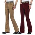 Autumn Men s commercial casual pants corduroy Flares trousers male elastic bell bottom trousers 6 colors