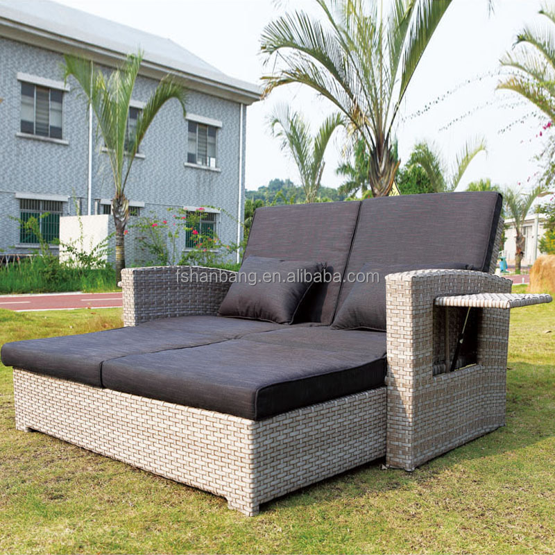 Modern Patio All Weather Proof Resin Wicker Rattan Lounge