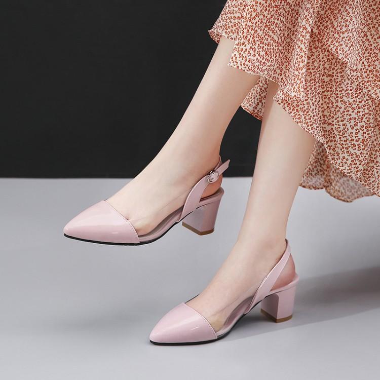 Большие размеры 11, 12, 13, 14; босоножки на высоком каблуке; женская обувь; женские летние прозрачные сандалии с пряжкой на толстом каблуке(Китай)