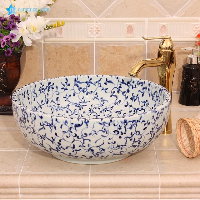 Yl E 6585 Cheap Blue And White Flower Design Round Ceramic Small Size Wash Basin Buy Bathroom Ceramic Sink Bowl Luxury Wash Basins Toilet Ceramic Vessel Sink Product On Alibaba Com