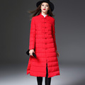 New Fashion Long Winter Jacket Women Cheongsam Women Coat Thicken Parka White Duck Down Clothing Red
