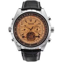 JARAGAR уникальные мужские автоматические механические часы Топ бренд класса люкс коричневый кожаный ремешок часы Tourbillon Модные мужские наруч...(Китай)