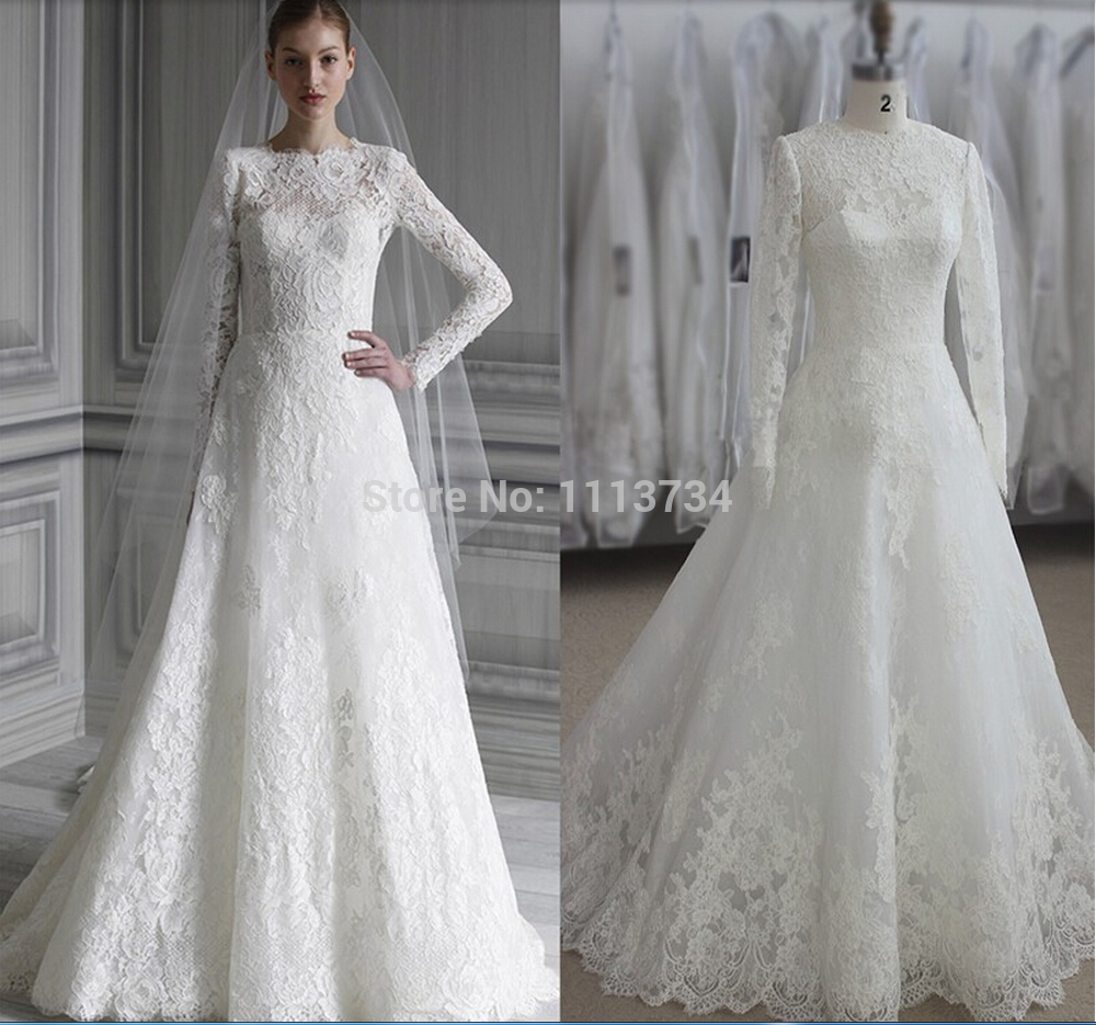 Winter Wedding Gowns 2015: 2015 Real Image Sheer Lace Bridal Gown Long Sleeve Beading