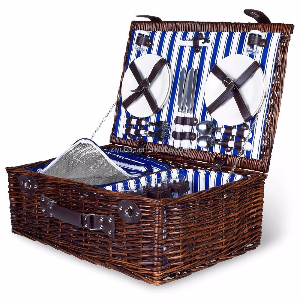 Vintage Picnic Basket with Dish Set