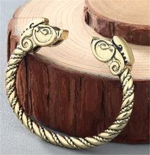 Мужской подростковый браслет с волком, Женский язычный браслет с головой дракона, ювелирные изделия, аксессуары, славяне Викинги, бронзовый...(Hong Kong,Китай)