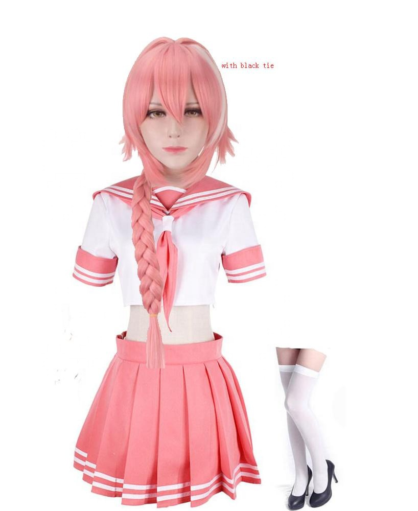 Fate Apocrypha FGO Astolfo Cosplay Costume Pink Sailor Suit JK Outfit Suit DRESS