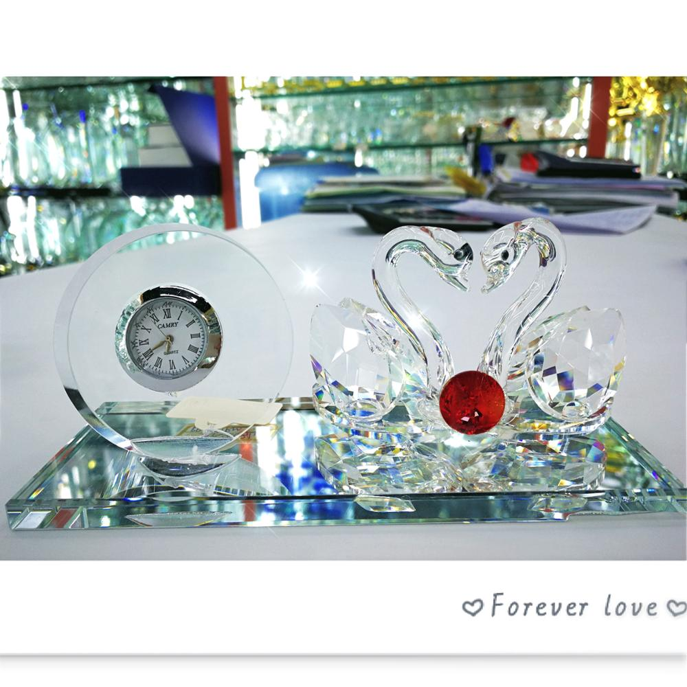 Crystal glass wedding return gift guests favors home decorations crystal swan