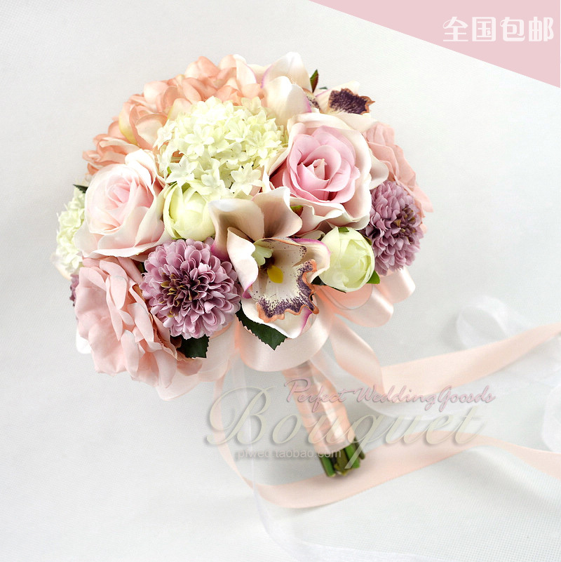 buy pink series wedding bouquets beautiful artificial flowers matching bride holding bridesmaid. Black Bedroom Furniture Sets. Home Design Ideas