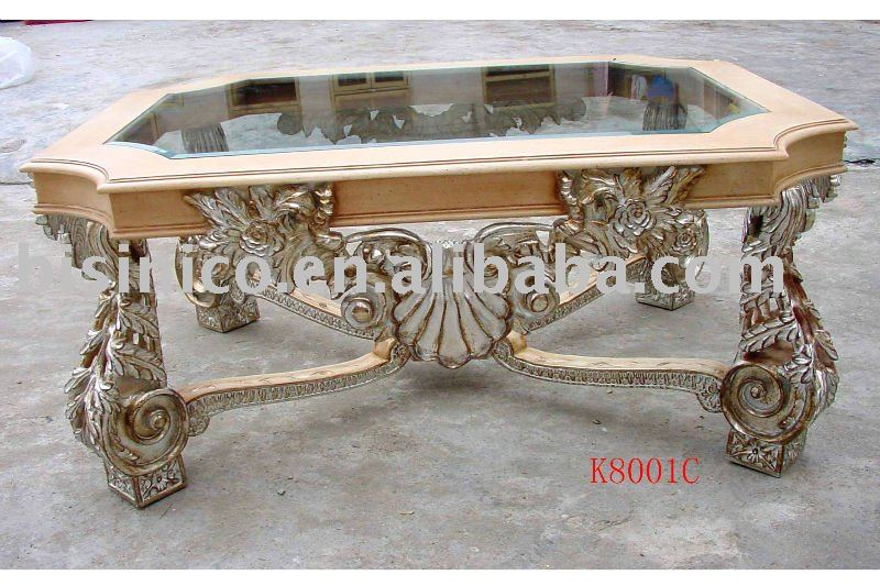 Classical Antique Glass Top Coffee Wooden Table, End Table