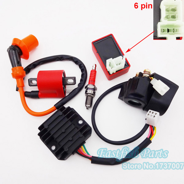 ignition coil 6 pin ac cdi d8tc spark plug solenoid relay 5 wire regulator rectifier. Black Bedroom Furniture Sets. Home Design Ideas