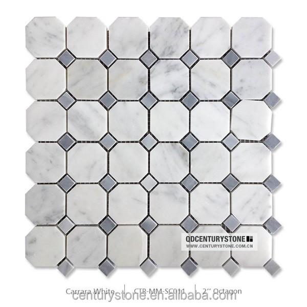 2 X2 Grey Mma Octagon White Carrara Marble Mosaic Bathroom Floor Tiles Buy Bathroom Floor Tiles Marble Mosaic Tiles Octagon Tiles Product On Alibaba Com