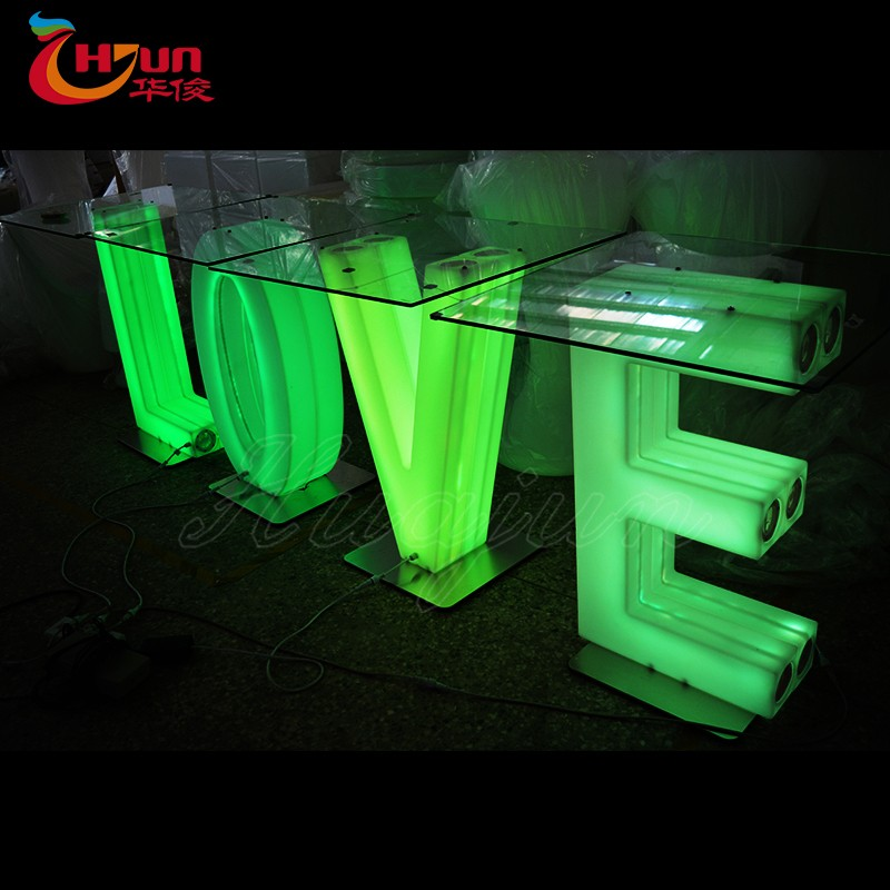 New design plastic color changing decorative table led illuminated lighting letter table
