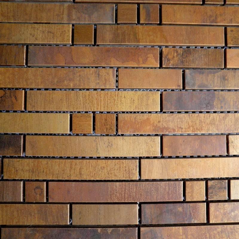Mosaics Tile Antique Striped Metal Copper Tiles Backsplash