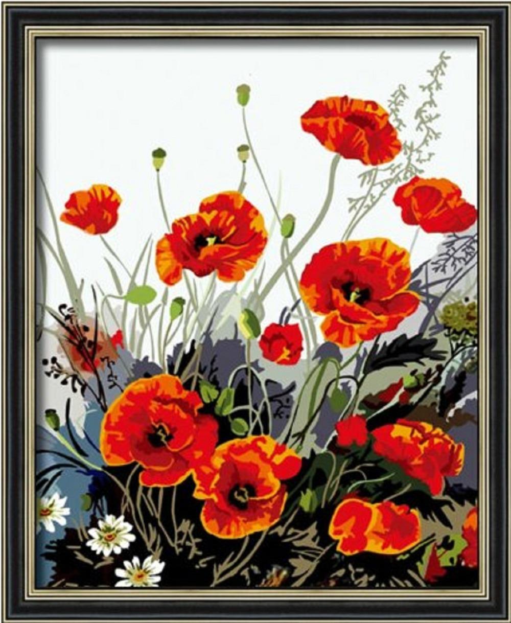 rouge fleur de pavot bricolage toile de peinture l 39 huile photo imprim e sur toile d coration. Black Bedroom Furniture Sets. Home Design Ideas