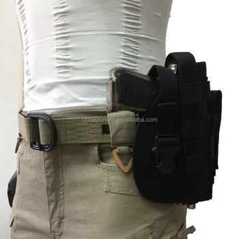 Nylon Tactical Molle Gun Pistol Holster with Extra Magazine Pouch for Glock 1911 Vest Accessories