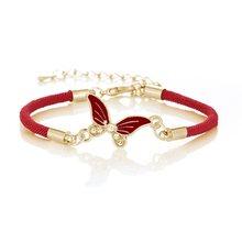 Женский кожаный браслет, новый модный регулируемый браслет на удачу, красная веревка, Инь и Ян, сплетенные звезды, слон, кактус, бабочка(Китай)