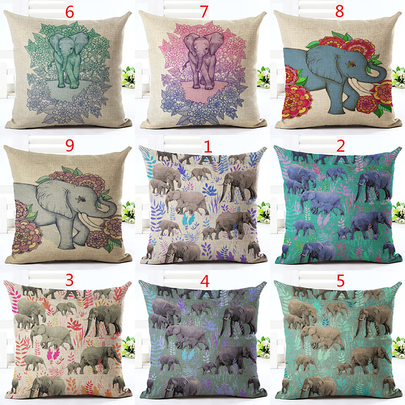<font><b>Bohemian</b></font> Style Throw Pillow Cushion Cover <font><b>Home</b></font> <font><b>Decor</b></font> Vivid Elephant Printed Linen Square Pillowcase <font><b>Home</b></font> <font><b>Decor</b></font> Cojines Almohadas