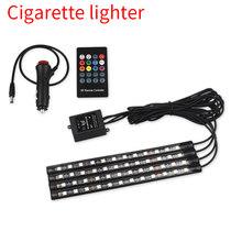 Автомобильные аксессуары 4 шт. автомобильные RGB Светодиодные полосы лампы USB LED авто атмосферное освещение 8 видов цветов декоративные атмос...(Китай)