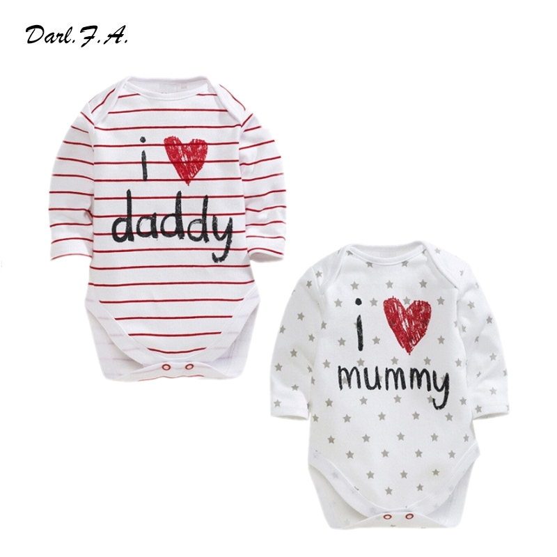 I Love Papa Mama Printed Baby Rompers Full Sleeve Baby Boys Girls Romper Jumpsuits Cotton Newborn Kids Infant Clothing