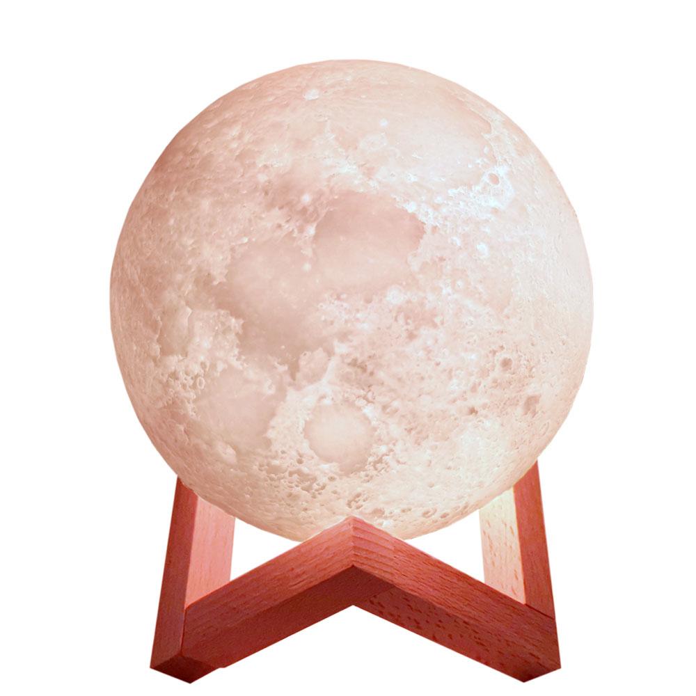 Светодиодная лампа 8 см, 10 см, 12 см, 15 см, 18 см, 20 см, 24 см, светильник в виде Луны с теплой и холодной белой 3D печатью