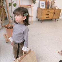 WLG/весенние однотонные футболки для девочек Детская Хлопковая Повседневная Универсальная футболка для девочек стеганое покрывало для млад...(Китай)