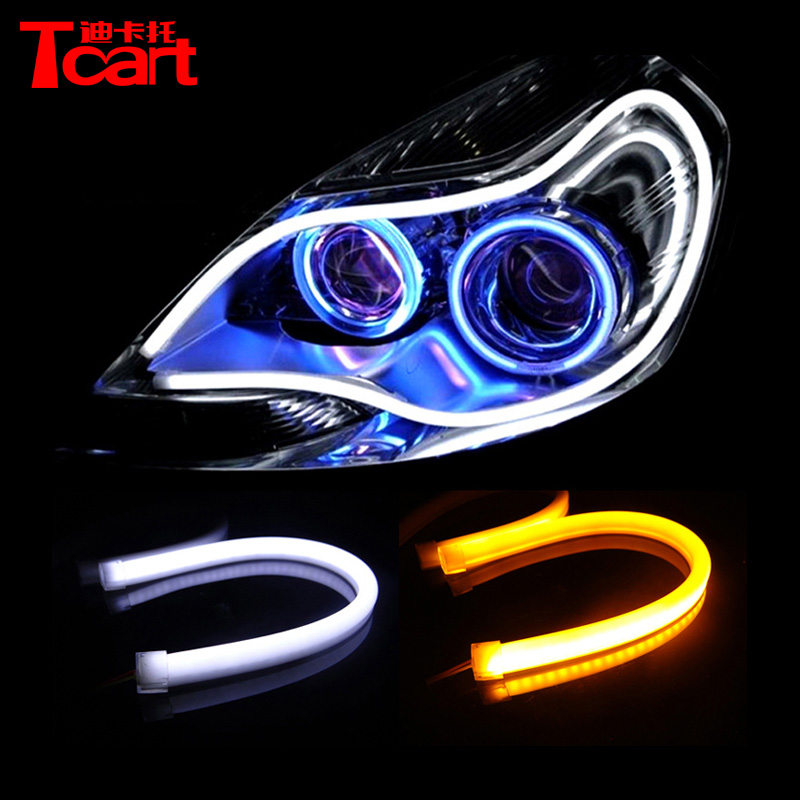 Dual color flexible universal led DRL 60cm length LED daytime running light auto headlight strip