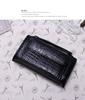Black genuine leather wallet women