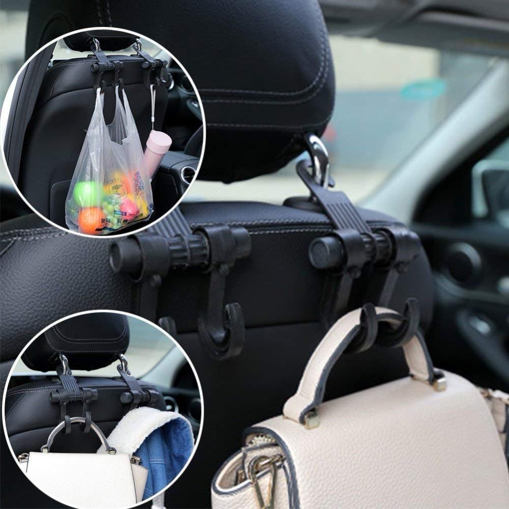 Car Vehicle Back Seat Headrest Hanger Holders Hooks with Phone/iPad Holders, Gulee Heavy Duty Backseat Hook Organizer with Lock