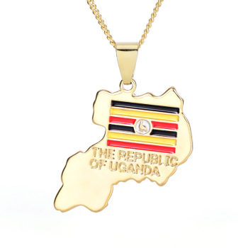 Factory Direct Sale Flag Of Uganda Map Necklace 18K Gold Plated Uganda Map Pendant Necklace