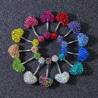 Surgical Steel HOVANCI Surgical Steel Gems CZ Heart Pattern Navel Belly Button Rings