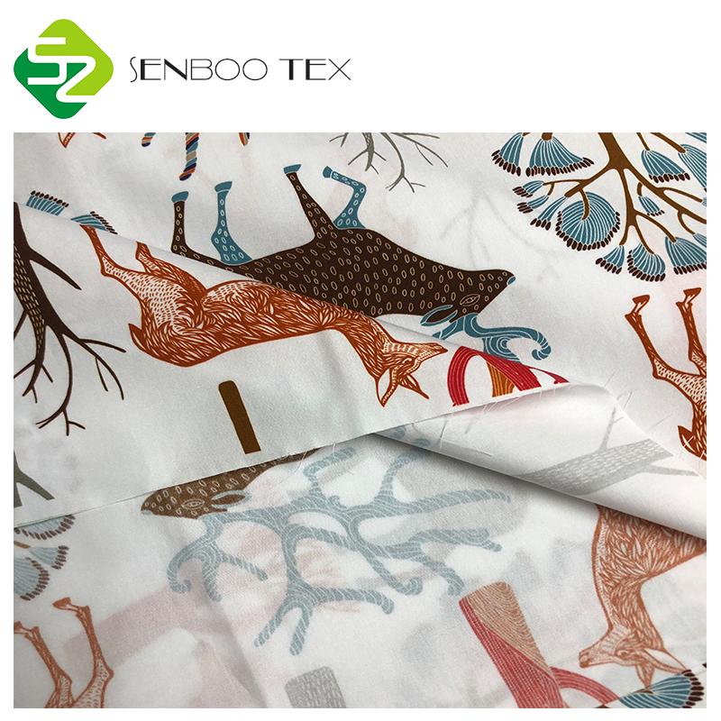 Изготовленный на заказ Печать 133x72 Поплин Ткань для платья плотности 40s 100% органический хлопок мерсеризованный 4 ~ 5 уровней супермягкой ткани 125gsm,125gsm